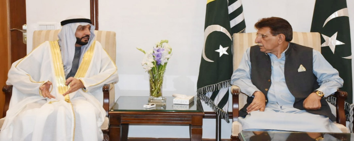 PM AJ&K Raja Muhammad Farooq Haider Khan in a meeting with a famous businessman of Dubai Suhail Muhammad Aldarooni.