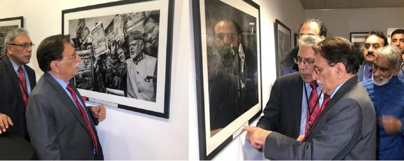 Prime Minister Azad Kashmir Raja Muhammad Farooq Haider Khan inaugurates Pictorial </br>exhibition of Indian atrocities in  Occupied Kashmir at Brussels Press Club.