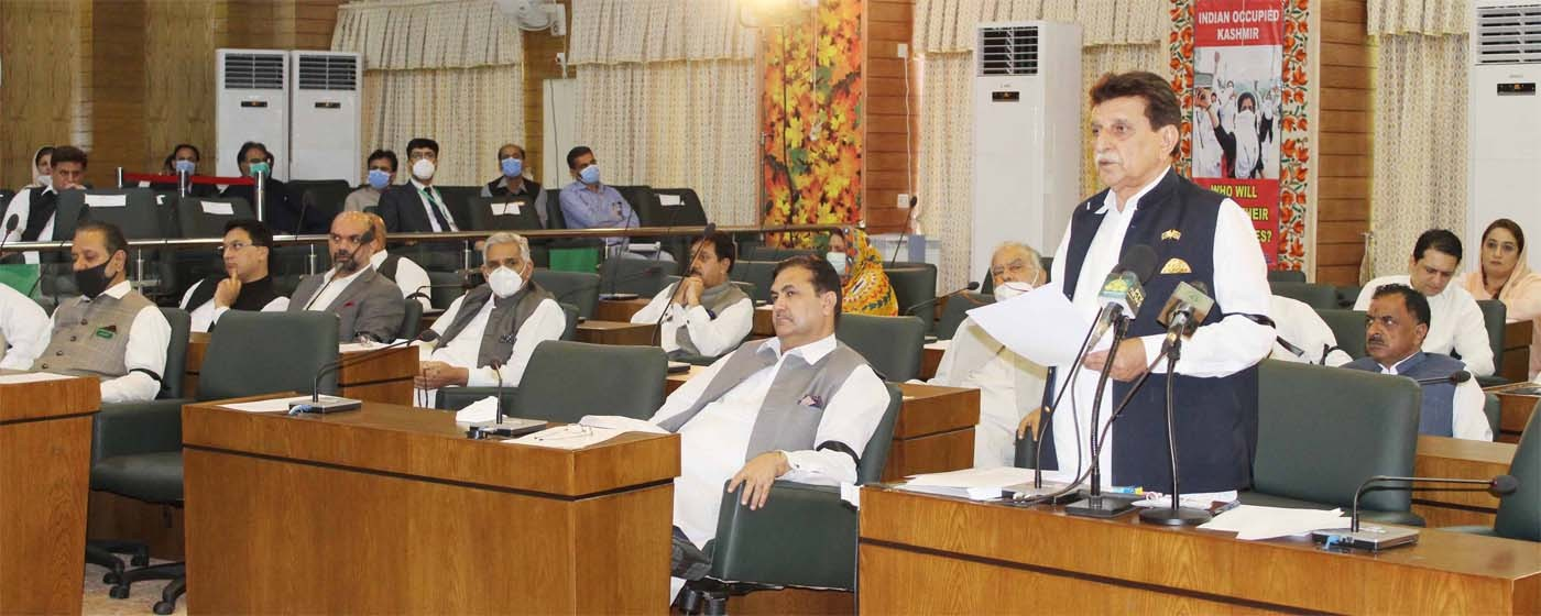 Muzaffarabad: PM AJ&K Raja Muhammad Farooq Haider khan addresses to AJ&K Legislative Assembly on the event of Youm - e - Istehsal Kashmir.