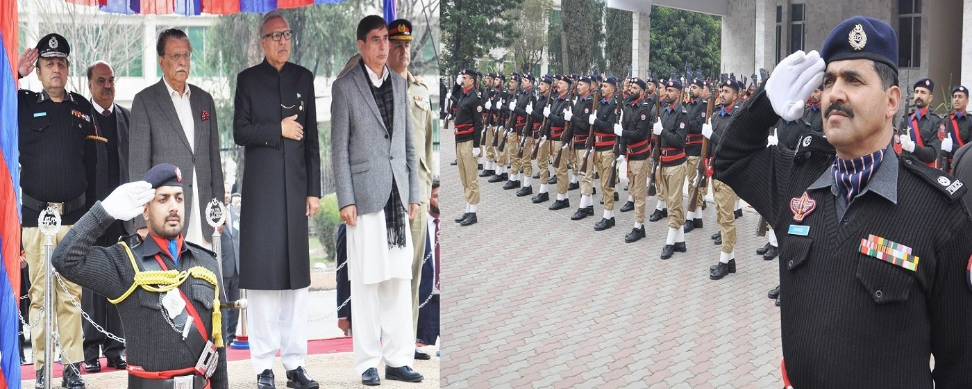 Prime Minister of AJ&K Raja Muhammad Farooq Haider Khan while taking Guard of Honor
